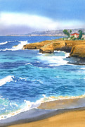 Oceans Paintings - Sunset Cliffs Point Loma by Mary Helmreich