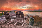 Oceans Art - Sunset Colors by Debra and Dave Vanderlaan