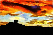 Oil Drawings Prints - Sunset Colours Print by Ayse T Werner