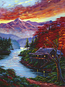 Mountain Cabin Paintings - Sunset Cove by David Lloyd Glover