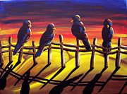 Crows Paintings - Sunset Crows by Renie Britenbucher