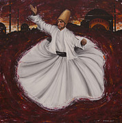 Turkish Paintings - Sunset Dervish by Carol Bostan