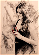 Red Wine Prints Drawings Posters - Sunset Dreams Poster by Patrick Whelan