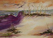 Sea Birds Paintings - Sunset Dunes by Roxanne Tobaison