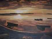 Stella Sherman Art - Sunset Evening Tide by Stella Sherman