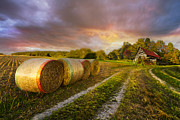 Tennessee Hay Bales Photo Prints - Sunset Farm Print by Debra and Dave Vanderlaan