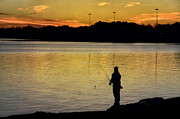 Purchase Photography Online Prints - Sunset Fisherman Print by Steven  Michael