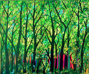 Visionary Artist Painting Prints - Sunset Forest Print by Suzeee Creates