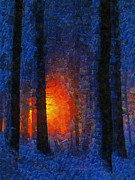 Amazing Sunset Painting Framed Prints - Sunset Forest Winter Framed Print by Georgi Dimitrov