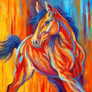 Colorful Horse Paintings - Sunset Frolic by Theresa Paden