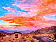 Canyons Painting Prints - Sunset From Palm Canyon Print by Michael Pickett