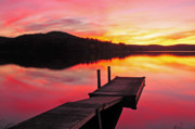 Sunset Greeting Cards Posters - Sunset from the Dock - Lake Waramaug Poster by Thomas Schoeller