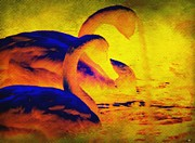 Geese Digital Art Posters - Sunset Geese Poster by Jared Johnson