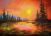 Disney Artist Paintings - Sunset  Glow  by Shasta Eone