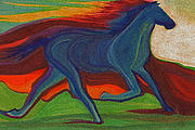 Trotting Paintings - Sunset Horse by jrr by First Star Art 