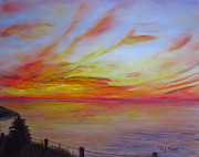 Water Scenes Painting Prints - Sunset I Print by Dottie Kinn