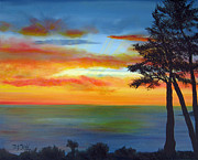 Water Scenes Painting Prints - Sunset III Print by Dottie Kinn