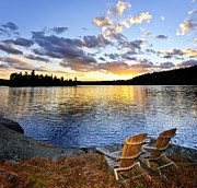 Rocky Coast Photos - Sunset in Algonquin Park by Elena Elisseeva