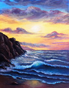 Sunset Greeting Cards Painting Posters - Sunset in Colors Poster by Bozena Zajaczkowska