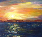 Beautiful Scenery Paintings - Sunset In Dahab by Doris Cohen