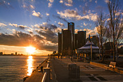 Detroit River Framed Prints - Sunset in Detroit  Framed Print by John McGraw
