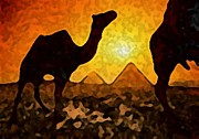 Camel Digital Art Originals - Sunset in Egypt by Acesio Amavi