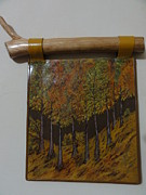 Signed Tapestries - Textiles Originals - Sunset in Forest by Jeler Anita LeatherArt