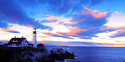 Lighthouse Drawings Framed Prints - Sunset in Fork Williams Lighthouse Park Portland Maine State Framed Print by Paul Ge