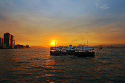 Hong Kong Prints - Sunset in Hong Kong with Star Ferry Print by Lars Ruecker
