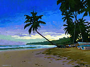 Palms Posters - Sunset in Las Terrenas Poster by Douglas Simonson