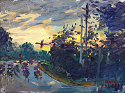 Norfolk; Paintings - Sunset in Military Highway Norfolk VA by Ylli Haruni