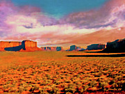 Sunset In Monument Valley Print by  Bob and Nadine Johnston