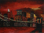 Brooklyn Bridge Painting Posters - Sunset in New York Poster by Denisa Laura Doltu