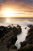 Atlantic Ocean Pastels Metal Prints - Sunset in Newquay Metal Print by Francesco Emanuele Carucci