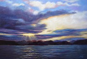 Sun Breaking Through Clouds Painting Posters - Sunset in Norway Poster by Janet King