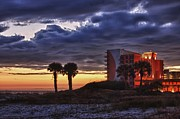 Beach Fence Digital Art Posters - Sunset in Orange Beach Poster by Michael Thomas