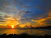 Amazing Sunset Photo Prints - Sunset In Paradise - Beach Photography by Sharon Cummings Print by Sharon Cummings