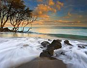 Waves. Ocean Prints - Sunset in Paradise Print by Mike  Dawson