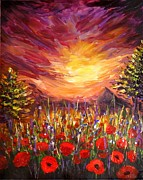 Acrylic Art - Sunset in Poppy Valley  by Lilia D