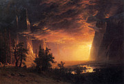 Famous Artists - Sunset in the Yosemite Valley by Albert Bierstadt