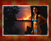 Woman Digital Art - Sunset in Vero Beach by Richard Hemingway