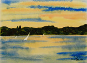 Yellow Sailboats Originals - Sunset in yellow and orange by Heidi E  Nelson