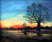 Tree Reflection At Sunset Prints - Sunset Print by Janet King
