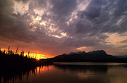 Alberta Rocky Mountains Posters - Sunset Jasper Lake Poster by Bob Christopher