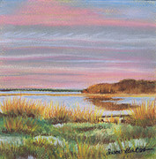 Hamptons Painting Posters - Sunset Jessups Neck Poster by Susan Herbst