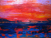 Pallet Knife Framed Prints - Sunset Framed Print by JoAnn DePolo