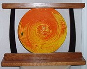 Circle Glass Art Originals - Sunset by Judy Schnabel