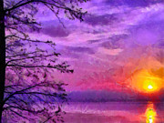 Purple Clouds Prints - Sunset Lake Print by Anthony Caruso