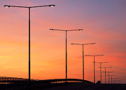 Stockholm Photos - Sunset Lampposts by Viacheslav Savitskiy
