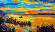 Acrylic Image Paintings - Sunset landscape by Ivailo Nikolov